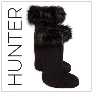Hunter Black Faux Fur Cuff Tall Boot Socks